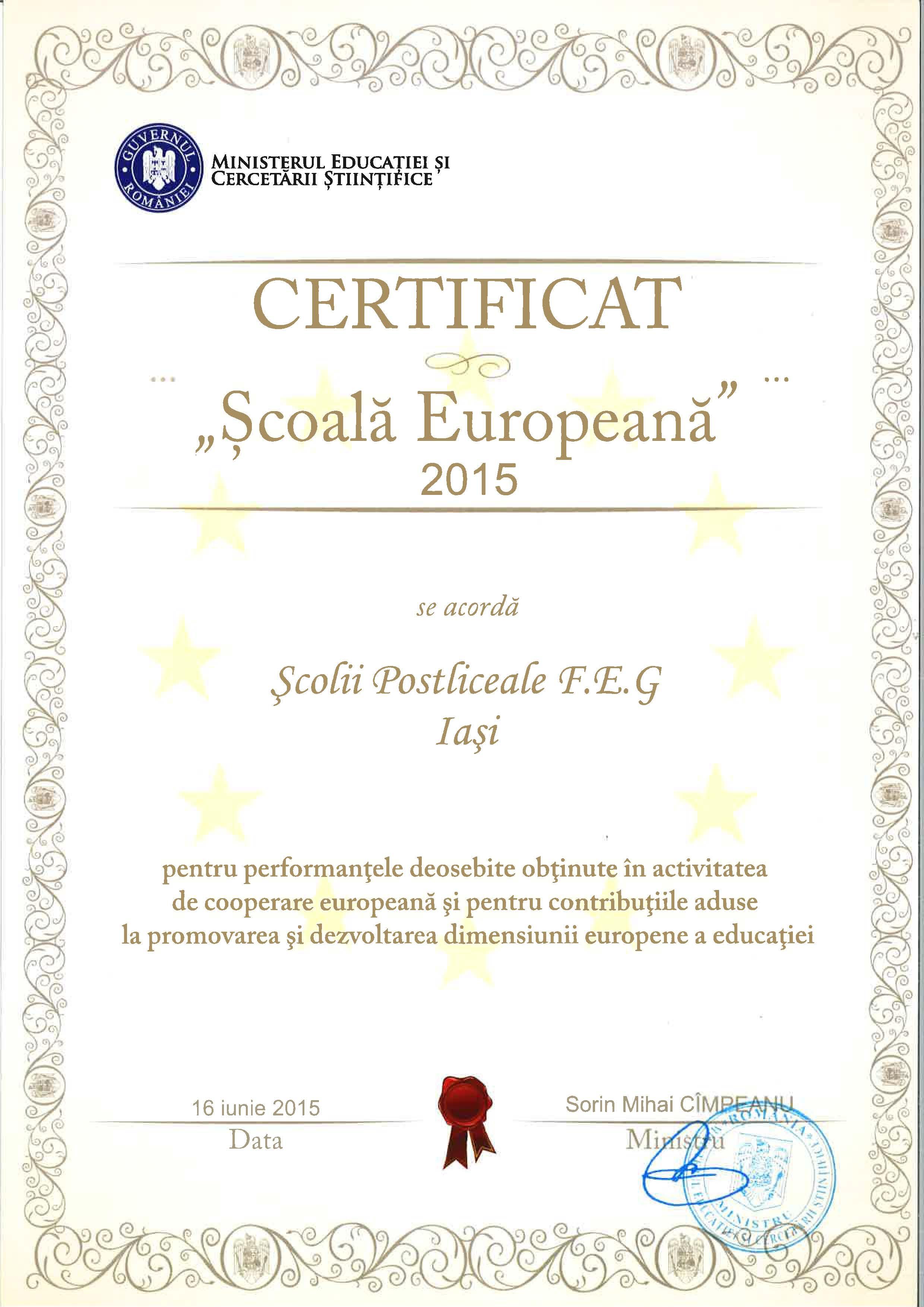 certificat scoala europeana 2015
